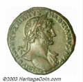 Ancients:Roman, Ancients: Hadrian, 117-138 AD, AE sestertius (28.33 g.), 118 A.D.,Laureate head, right, with drapery on left shoulder/Hadrian seated...