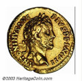 Ancients:Roman, Ancients: Antoninus Pius, 138-161 A.D.,AV aureus (7.19 g), 155/6A.D., Laureate head right/Emperor, togate, standing left, holdinggl...