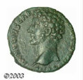 Ancients:Roman, Ancients: Marcus Aurelius as Caesar, 161-180 AD, AE as (9.49 g),155/6 A.D., Bare head, left/Minerva seated, right, holding spear.RIC...