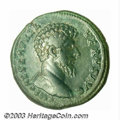 Ancients:Roman, Ancients: Lucius Verus 161-169 A.D., AE sestertius (25.81 g),161/2A.D., Bare head, right/Verus and Aurelius standing with claspedhan...