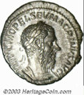 Ancients:Roman, Ancients: Macrinus, 217-218 A.D., AR denarius (2.93 g), Laureate,draped and cuirassed bust right/Aequitas, standing left, holdingsca...