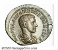 Ancients:Roman, Ancients: Diadumenian, 217-218 A.D., AR denarius (3.15 g), Draped,cuirassed bust right/Diadumenian, standing left, holding standard;...