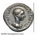 Ancients:Roman, Ancients: Diadumenian, 217-218 A.D., AR denarius (3.28 g), Draped,cuirassed bust, right/Diadumenian standing facing, head right,hold...