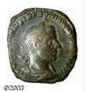 Ancients:Roman, Ancients: Trebonianus Gallus, 251-253 A.D., AE sestertius (18.84g), Laureate, draped and cuirassed bust right/Di-style templecontain...