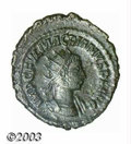 Ancients:Roman, Ancients: Macrianus, 260-261 A.D., AE antoninianus (3.53 g),Antioch mint, Radiate, draped and cuirassed bust right/Roma, seatedleft,...