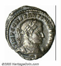 Ancients:Roman, Ancients: Constantine I, 307-337 A.D., AR 1/2 argenteus (1.50 g),Trier mint, 307/8, Laureate, cuirassed bust right/Camp-gate withfou...