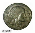 Ancients:Roman, Ancients: Helena, 318/319 A.D., AE 3 (2.49 g),Thessalonica mint,Diademed, draped bust, right/Star in wreath, RIC 50 (R2), AXF. Aver...