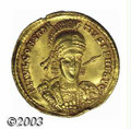 Ancients:Roman, Ancients: Constantius II, 337-361 A.D., AV solidus (4.29 g),Sirmium mint, Helmeted, cuirassed bust, facing 3/4 right, holdingspear, ...