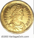 Ancients:Roman, Ancients: Theodosius I, 379-395 A.D., AV solidus (4.09 g), Sirmiummint, 393-395 A.D., Diademed, draped and cuirassed bustright/Emper...