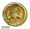 Ancients:Roman, Ancients: Arcadius, 393-408 A.D., AV solidus (4.39 g), Mediolanummint, 394/5 A.D., Diademed, draped and cuirassed bust right/Empero...