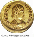 Ancients:Roman, Ancients: Arcadius, 383-408 A.D., AV solidus (4.51 g),Constantinople mint, 383-388 A.D., Diademed, draped and cuirassedbust right/Co...