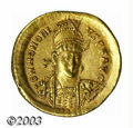 Ancients:Roman, Ancients: Honorius, 393-423 A.D., AV aureus (4.45 g),Constantinople mint, Military bust facing 3/4right/Contantinopolis, seated fac...
