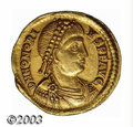 Ancients:Roman, Ancients: Honorius, 393-423 A.D., AV solidus (4.42 g), Ravennamint, Diademed, draped and cuirassed bust right/Emperor, standingright...