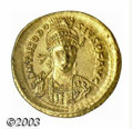 Ancients:Roman, Ancients: Theodosius II, 408-450 A.D., AV solidus (4.46 g),Constantinople mint, 423/4 A.D, Military bust, facing 3/4right/Victory, s...