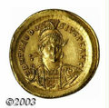 Ancients:Roman, Ancients: Theodosius II, 408-450 A.D., AV solidus (4.42 g),Constantinople mint, 430-440 A.D., Helmeted military bust facing3/4 right...