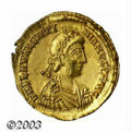Ancients:Roman, Ancients: Valentinian III, 425-455 A.D., AV solidus (4.48 g),Ravenna mint, Diademed, draped and cuirassed bust right/Emperor,standi...