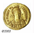 Ancients:Byzantine, Ancients: Anastasius I, 491-518 A.D., AV solidus (4.48 g),Constantinople mint, Helmeted bust facing/Victory standing leftholding lo...