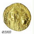 Ancients:Byzantine, Ancients: Constans II, 641-648 A.D., AV solidus (4.35 gm.),Constantinople mint. Facing busts of Constans, l., and ConstantineIV, r.,...