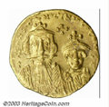 Ancients:Byzantine, Ancients: Constans II, Q 641-668 A.D , AV solidus (4.32 g),Constantinople mint, Facing busts of Constans II, ConstantineIV/Cross pote...