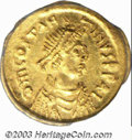 Ancients:Byzantine, Ancients: Constans II,641-668 A.D., AV tremissis (1.51 g),Constantinople mint, Diademed, draped and cuirassed bustright/Cross, DO 45...