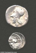 Ancients:Greek, Ancients: Greek Silver Coins, Gaul, Messalia, Drachm, Cop 768, EF;and a Corinthian type Stater, VF. Nicely toned examples of coinsf... (Total: 2 coins Item)