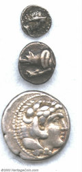 Ancients:Greek, Ancients: Three Greek Silver Coins, An Alexander III tetradrachm; aLaconia, Argolis, BMC 60?; and a Cilicia Trihemiobol in AVF - VFc... (Total: 3 Item)