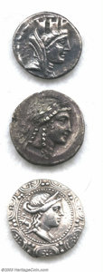 Ancients:Greek, Ancients: Greek Silver Coins, An Alexander tetradrachm; a Aiolis,Myrina Tetradrachm; a Syria, Laodikeia Tetradrachm; and aMacedonia,... (Total: 3 coins Item)
