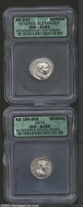 Ancients:Roman, Ancients: Roman Silver Denarii, Certified. A Geta and SeverusAlexander denarius graded AU58 ICG and AU53 ICG. ... (Total: 2coins Item)