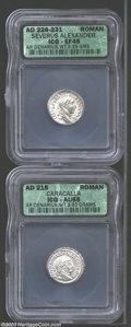 Ancients:Roman, Ancients: Roman Silver Denarii, Certified. A Caracalla and aSeverus Alexander coin graded XF45 ICG and AU 55 ICG. ... (Total: 2coins Item)