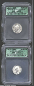 Ancients:Roman, Ancients: Roman Silver Denarii, Certified. A Antoninus Pius and aSeverus Alexander coin both graded AU55 ICG. ... (Total: 2 coinsItem)
