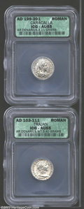 Ancients:Roman, Ancients: Roman Silver Denarii, Certified. A Trajan and a Caracallaboth coins graded AU55 ICG. ... (Total: 2 coins Item)