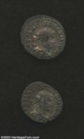 Ancients:Roman, Ancients: Vabalathus and Aurelian, 270-275 AD, (2) coins in VF/XFcondition with nice surfaces. ... (Total: 2 coins Item)