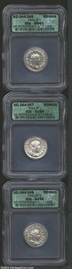 Ancients:Roman, Ancients: Roman Silver Antoniniani, Certified. (3) Philip I coinsgraded AU55 ICG, AU58 ICG, and MS61 ICG. ... (Total: 3 coins Item)