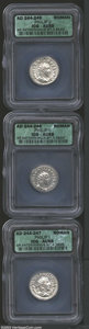 Ancients:Roman, Ancients: Roman Silver Antoniniani, Certified. (1) Philip I and (2)Philip II coins graded AU 58 ICG. ... (Total: 3 coins Item)