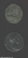Ancients:Roman, Ancients: Roman Bronze Medallion, Two Roman Medallions withinteresting designs. One of Caracalla with a horse and rider on therevers... (Total: 2 medals Item)