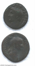 Ancients:Roman, Ancients: Roman Bronze coins of Antonia and Augustus. A veryinteresting group of 2 Roman bronzes of two of the most famouspeople of ... (Total: 2 coins Item)