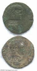 Ancients:Roman, Ancients: Roman Bronze Coins, Two Countermarked Claudius Sestertii,Barbarous copy with DV countermark in Fine to VF condition. Twou... (Total: 2 coins Item)
