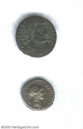 Ancients:Roman, Ancients: Roman Silver and Bronze Brockage Coins. A very scarce andimpressive brockage coin from the Roman Republic and a rare onef... (Total: 2 coins Item)