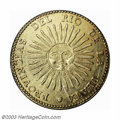 Argentina: , Argentina: Republic gold 8 Escudos 1831/0, KM-21, Fr-2.Sunface/Arms. Rarely available in the market, this classicRepublican issue is ...