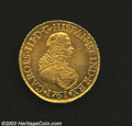 Colombia: , Colombia: Charles III gold 8 Escudos 1761-NR-JV, Fr-23, KM-38.1.Early bust of Charles/Crowned arms. Nearly EF with considerablemint ...