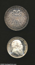 German States:Lubeck, German States: Lubeck. 3 Mark 1912A, KM-215. Choice Toned Unc.,plus Baden 2 Mark 1907 KM-278, Death of Friedrich. Gem BU with fullflashy ... (Total: 2 coins Item)