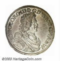 German States:Saxony, German States: Saxony. Johann Georg III 2/3 Taler 1690, Bust/Crowned arms, KM-571. AU-UNC, fully lustrous. ...