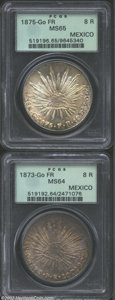 Mexico: , Mexico: A pair of Cap & Ray 8 Reales as follows: 1873-GoFR,KM-377.8, MS64 PCGS; and an 1875-GoFR, MS65 PCGS. Both coins havebeauti... (Total: 2 coins Item)
