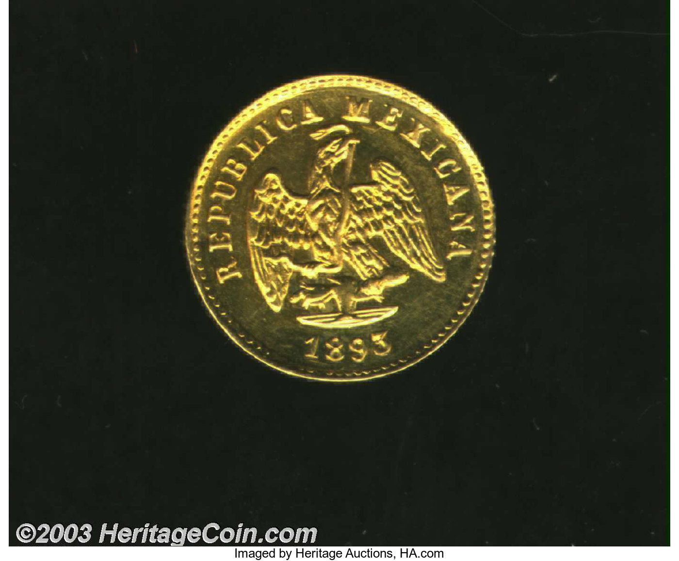 Mexico: Republic gold Peso 1893 Mo-M, Eagle with date below