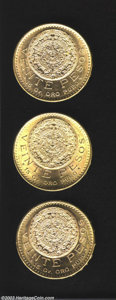 Mexico: , Mexico: Three Gold 20 Pesos 1920/10, 1921/10 and 1959, KM-478. Allthree BU with the 1921 particularly choice. ... (Total: 3 coinsItem)