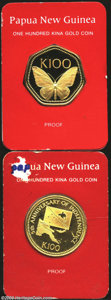 Papua New Guinea: , Papua New Guinea: Gold 100 Kina 1978, KM-13. 7-sided coin with butterfly design. Choice Proof in card of issue....