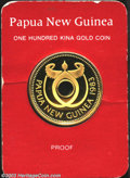 Papua New Guinea: , Papua New Guinea: Gold 100 Kina 1983, KM-24. Bank Anniversary. Scarce type. Choice Proof in the card of issue....