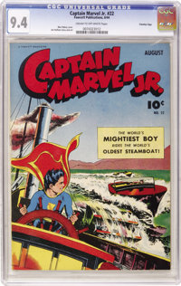 Captain Marvel Jr. #22 Crowley Copy pedigree (Fawcett, 1944) CGC NM 9.4 Cream to off-white pages