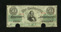 "Confederate Notes:1863 Issues, T57 $50 1863 PF-1. Someone pencilled the Criswell number ""406"" onthe back of this Very Fine $50, with two cut-out cance..."