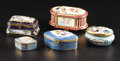 Ceramics & Porcelain, Continental:Other , An Assorted Lot of Porcelain Boxes. Various makers. TwentiethCentury. Porcelain. 4.75 inches long (largest box). One ...(Total: 5 )